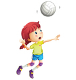 A girl playing volleyball vector image vector image