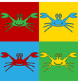 Pop art crab icons vector image vector image