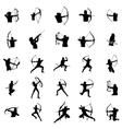 Archer silhouette set vector image