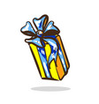 cartoon surprise gift yellow color with blue vector image