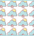 cute cloud with sun and raining natural weather vector image