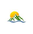 mountain wave logo vector image