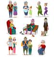 Senior People Cartoon Set vector image