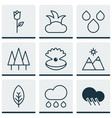 set of 9 landscape icons includes raindrop vector image