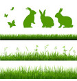 grass borders set with rabbits vector image vector image