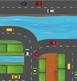 Cars on road along the river vector image