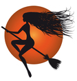 halloween witch on broomstick vector image