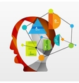 User head with geometric infographic A B C D and vector image