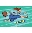 businesswoman running hurdles vector image vector image