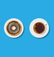 coffee cup and donuts with chocolate cream vector image