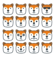 fox emotional emoji square flat faces icon vector image