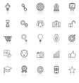 Start up line icons with reflect on white vector image vector image