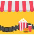 Popcorn hamburger and soda with straw Film strip vector image