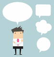 Businessman thinking with bubble chat vector image
