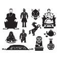 China History Mono Objects Set vector image