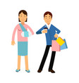 cheerful couple shopping together woman with arm vector image