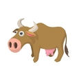Cow cartoon icon vector image