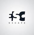 escape letter theme logotype vector image