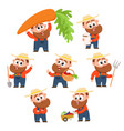 funny farmer gardener character in different vector image