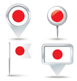 Map pins with flag of Japan vector image
