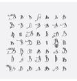 set of calligraphic letters B handwritten vector image
