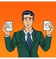 Undecided Businessman Making Decision Pop Art vector image