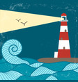 vitage poster with lighthouse vector image