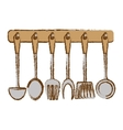 silver rack utensils kitchen icon vector image