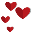 Red cardboard hearts with word love isolated on vector image