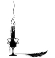 candle and feather vector image