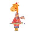 giraffe with umbrella vector image