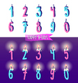 Ink hand drawn Happy Birthday Candles numbers set vector image