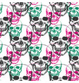 skulls print skull pattern in black pink and vector image