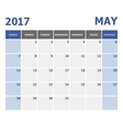2017 May calendar week starts on Sunday vector image