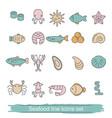 seafood line icons seafood line icons vector image