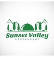 Sunset or Sunrise Valley Abstract Logo Template vector image