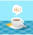 Flat stylized coffee cup with a ribbon vector image