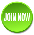 join now green round flat isolated push button vector image