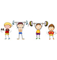 Many people doing weightlifting vector image vector image