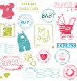 Baby stamp collection in color vector image