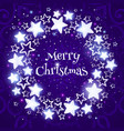 christmas wreath on purple background circle vector image