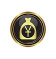 yen in bag icon button gold copy vector image vector image