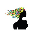 floral girl silhouette vector image vector image