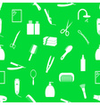 hair care theme green and white seamless pattern vector image