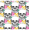beauty skulls pattern hand drawn seamless vector image