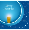 Christmas card with a burning candle on a blue vector image