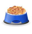 dog bowl with food vector image