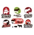 farm logo meat food or livestock breeding vector image