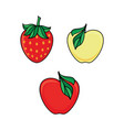 set of apple fruit and ripe strawberry berry icons vector image