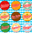 Set of ketchup vinegar mustard soy cheese and vector image
